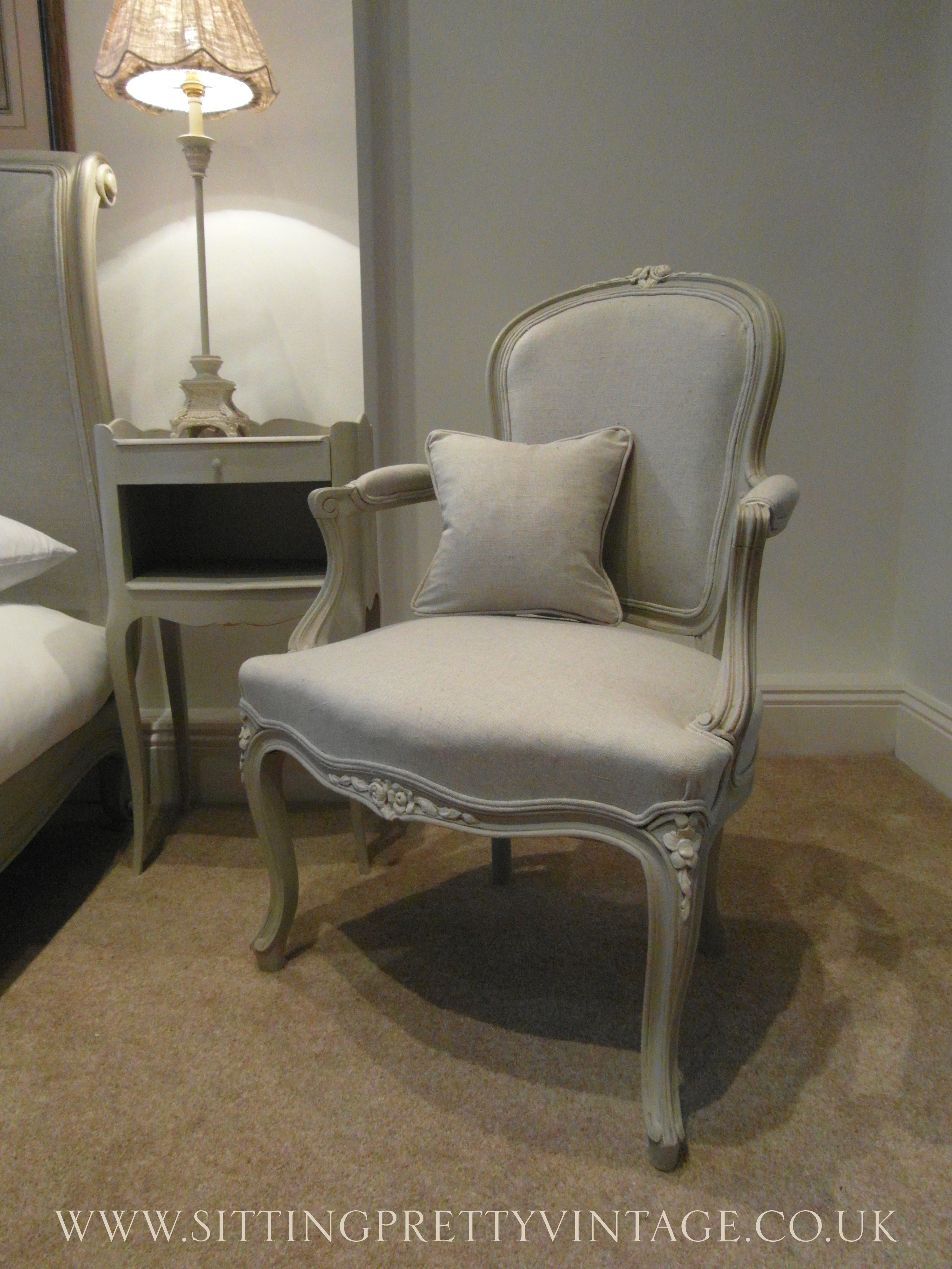 french vintage louis xv bedroom armchair in grey linen and chalk