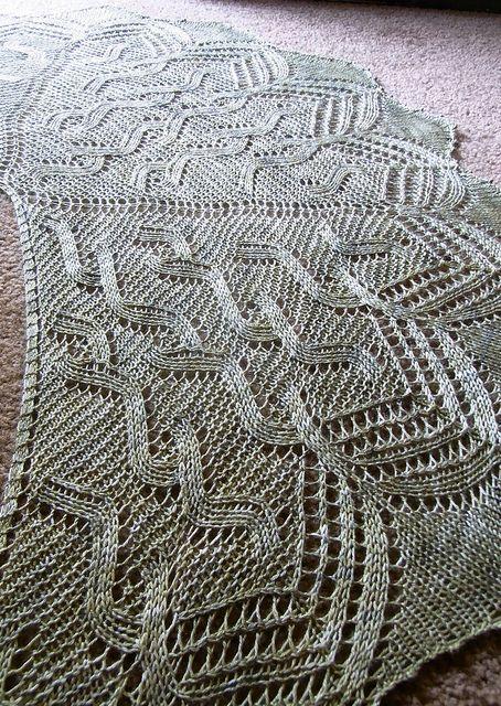 Irish Moss Shawl by verybusymonkey. 400-450 yards Light Fingering-weight yarn. $4.50 pattern on Ravelry