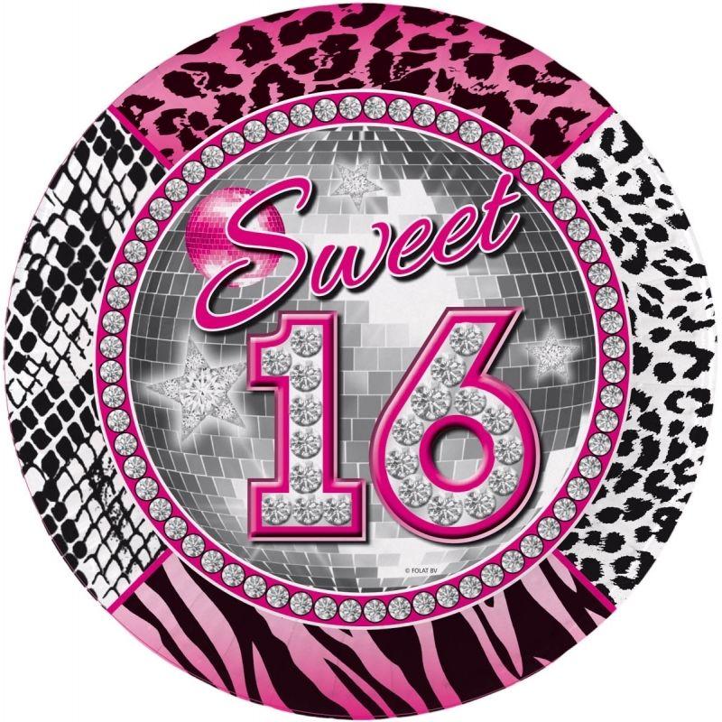 16de Verjaardag.Wegwerp Bordjes 16de Verjaardag Sweet 16 Wegwerp Bordjes De