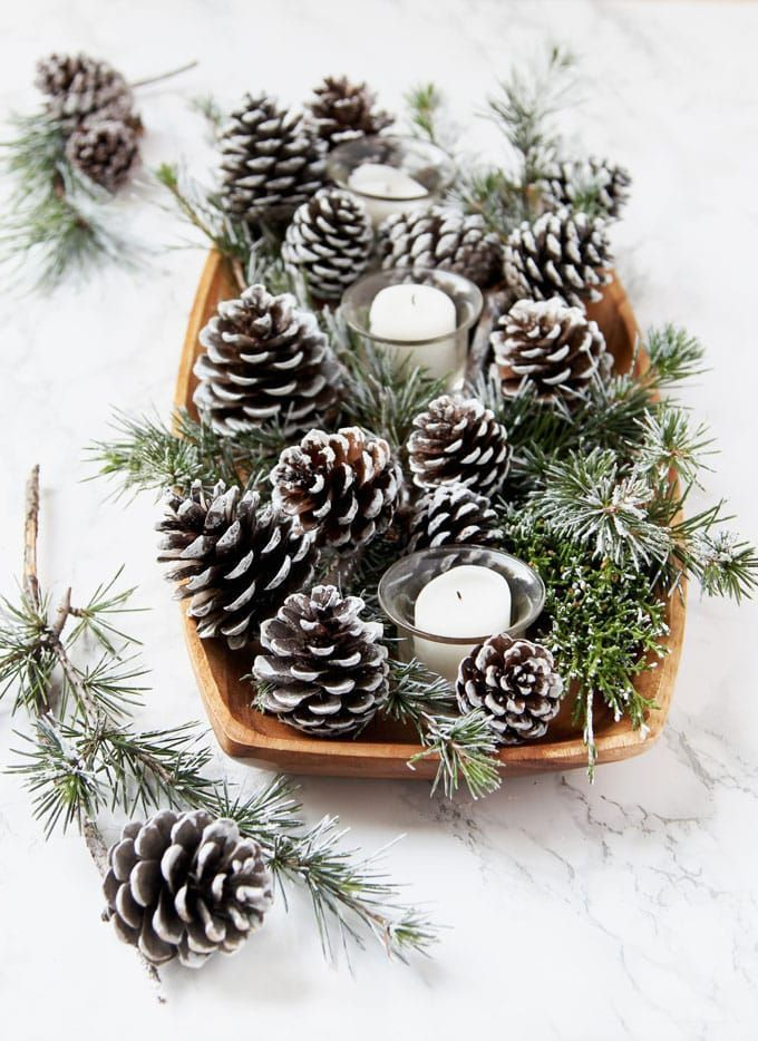 3-Minute DIY Snow Covered Pine Cones & Branches {3 Ways!} #weddings