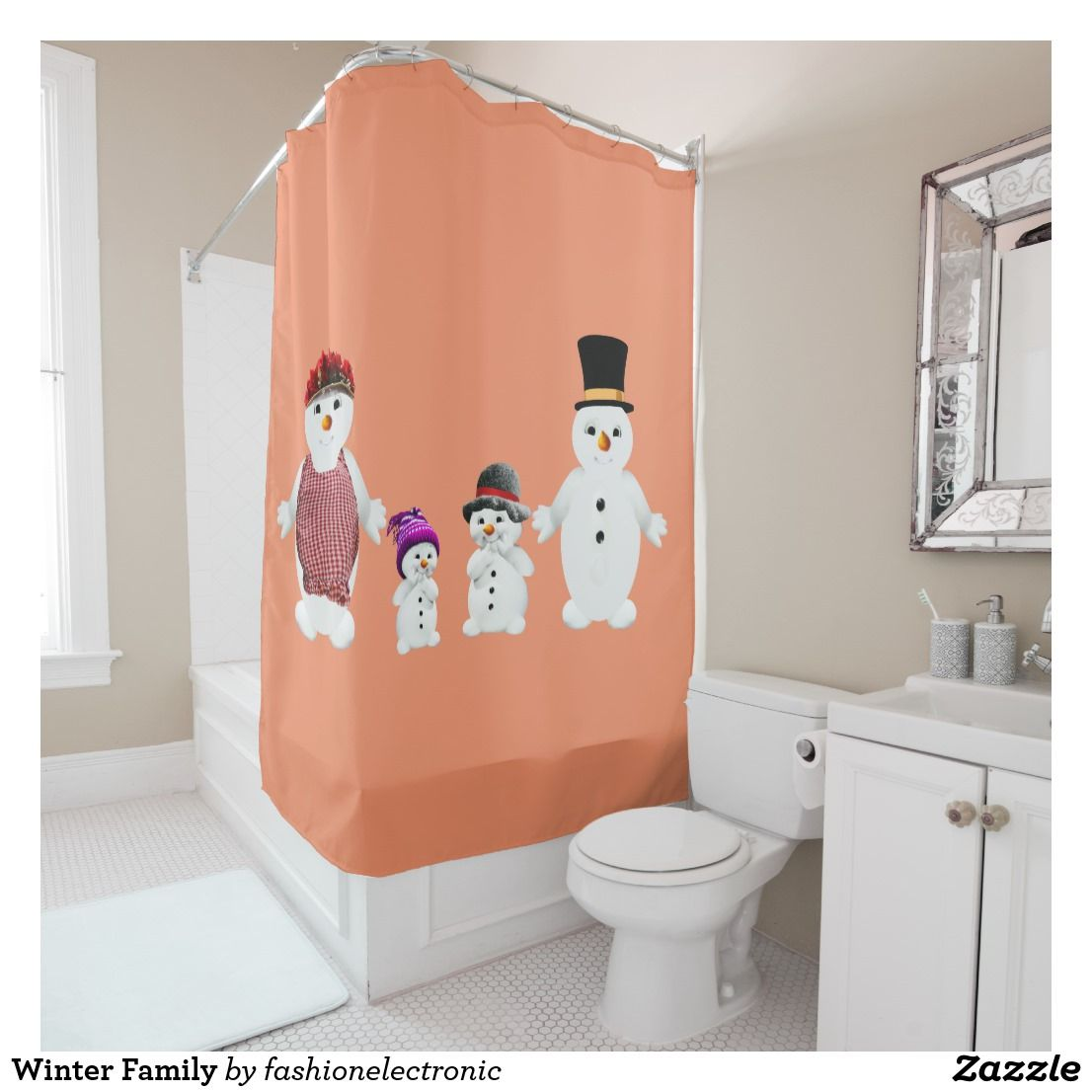 Winter Family Shower Curtain With Images Orange Shower Curtain