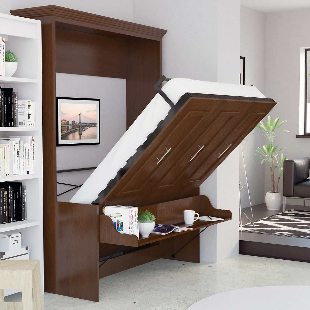 Best Bed Room Porter Queen Portrait Wall Bed With Desk And 400 x 300