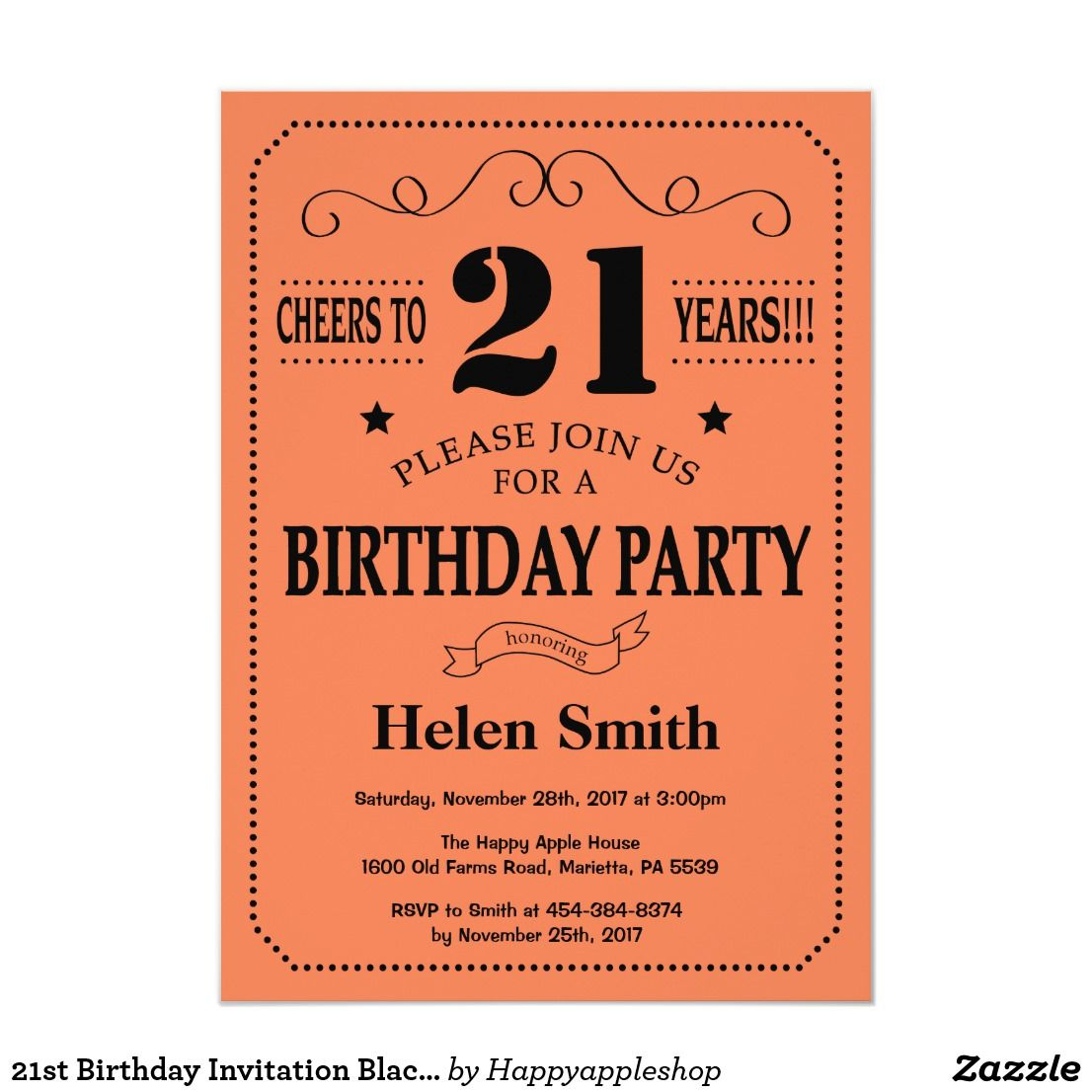 21st Birthday Invitation Black and Coral