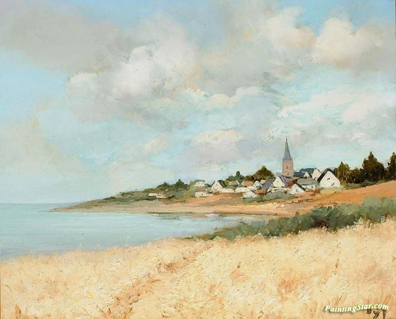 Arzon, View To Croisty, Brittany Artwork by Marcel Dyf Hand-painted and Art Prints on canvas for sale,you can custom the size and frame
