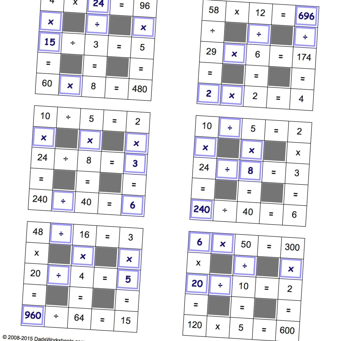 Grid Puzzles: Multiplication and Division with Missing Values and ...