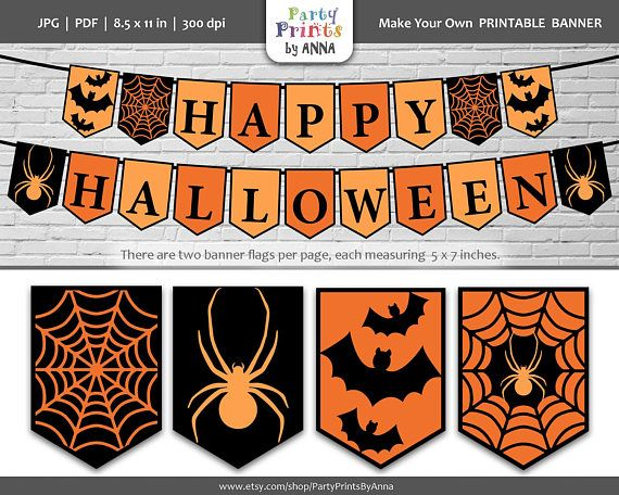 photo regarding Printable Halloween Banners titled Printable Pleased Halloween Banner,Halloween Bunting Banner