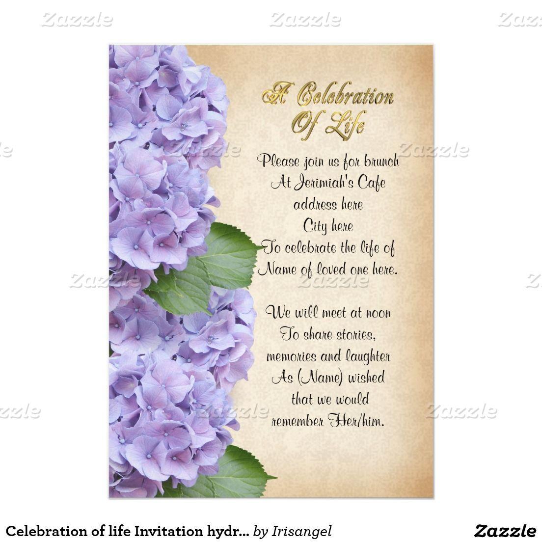Celebration of life Invitation hydrangea 5 X 7 Invitation Card