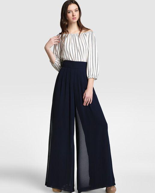 ed4cf1152a Pantalón ancho de mujer Easy Wear de gasa en azul marino