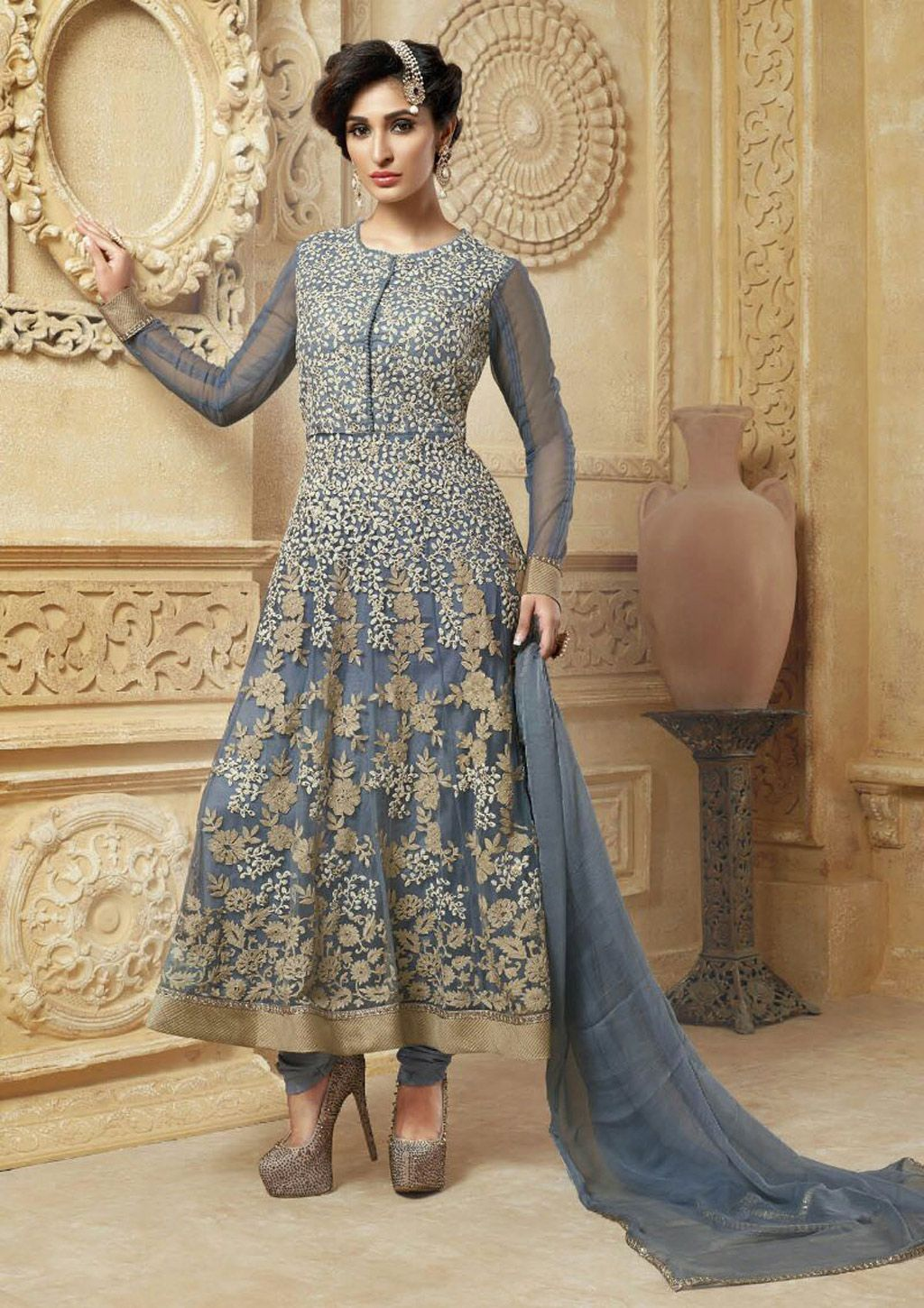 0639255cf392 Gray Net Ankle Length Anarkali Suit 61494. Gray Net Ankle Length Anarkali  Suit 61494 Designer Salwar Suits