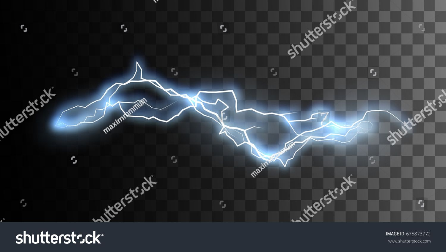 Electric Discharge Isolated On Checkered Transparent Background Electricity Visual Effect For Design Vector Illustration Transparent Background Visual Effects