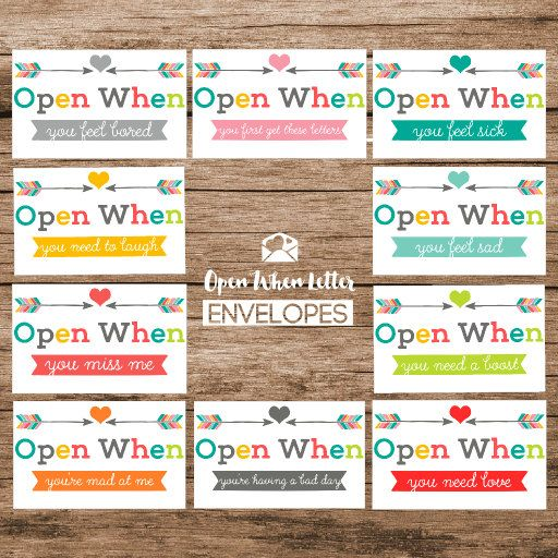 "Image result for 10. ""Open when"" letters"