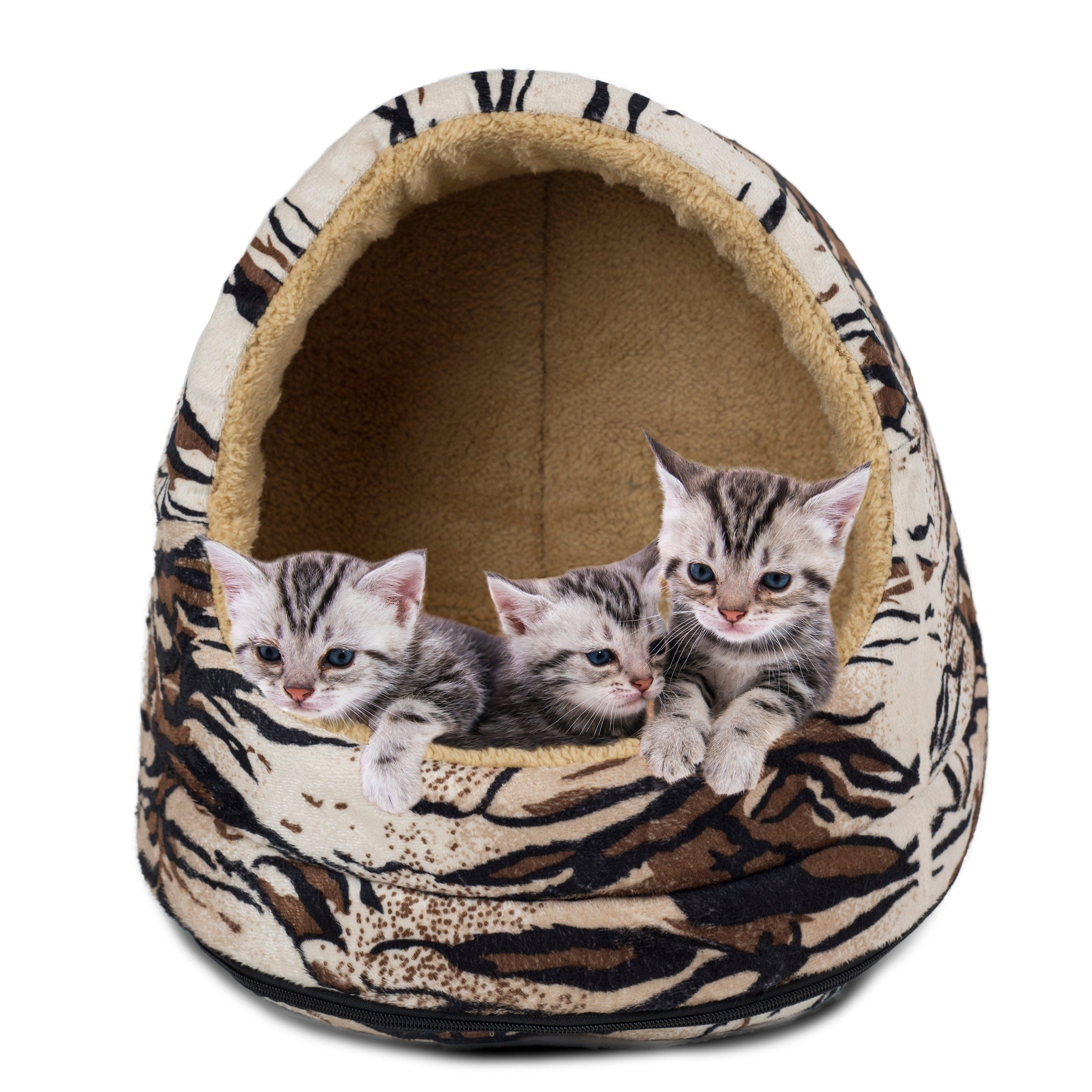 Furhaven Cat Hood (animal print tiger), Brown Products