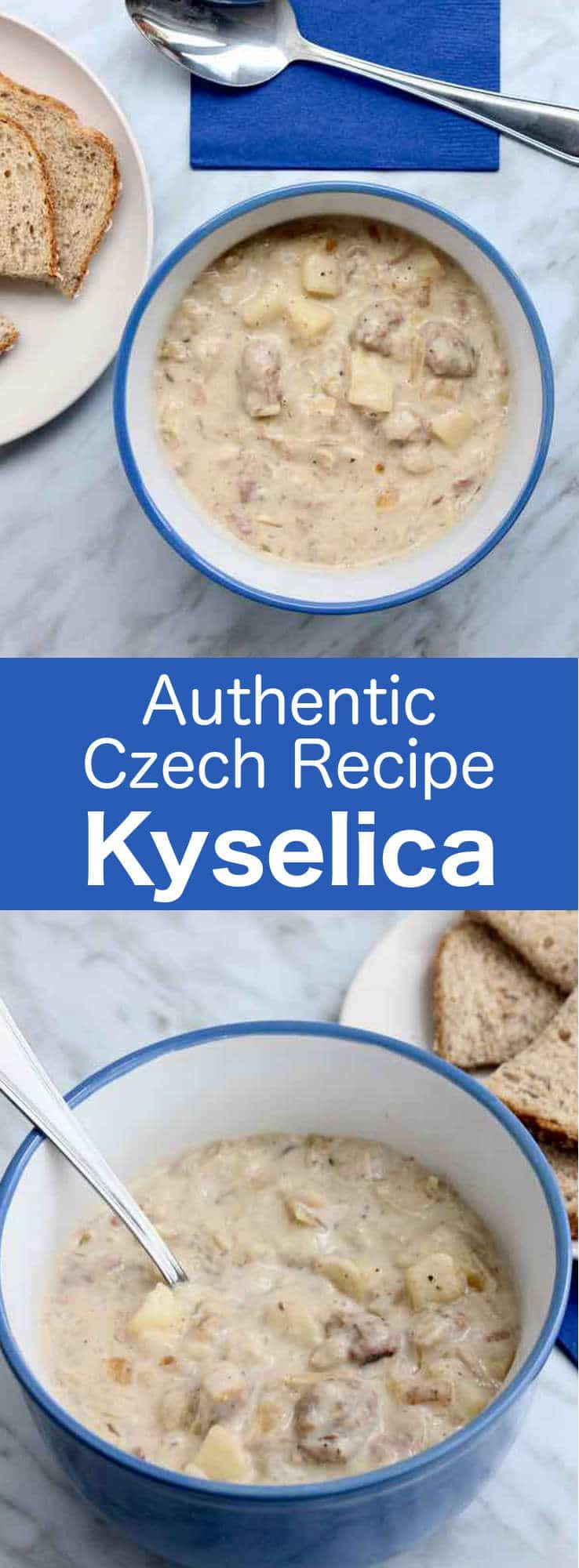 Kyselica is a deliciously thick traditional soup from the Czech Republic consisting of potatoes, sauerkraut and smoked meat. #Czech #CzechRepublic #CzechCuisine #WorldCuisine #196flavors #czechrecipes