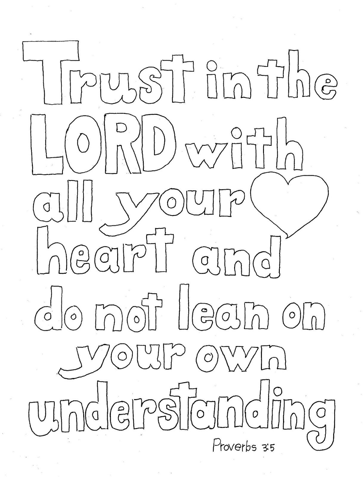 Coloring pages with bible verses - A Printable Coloring Page For The Bible Verse That Says Trust In The Lord With All Your Heart And Do Not Lean On Your Own Understanding