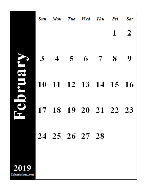 2019 February Calendar Portrait Monday Start February 2019 Portrait Calendar Printable | 2019 Calendars