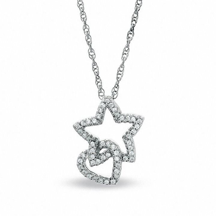 Zales 1/5 CT. T.w. Diamond Heart and Star Pendant in Sterling Silver 6w7i2
