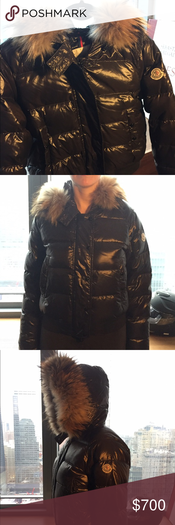 Moncler down jacket with real fur hood Impeccable Moncler ...