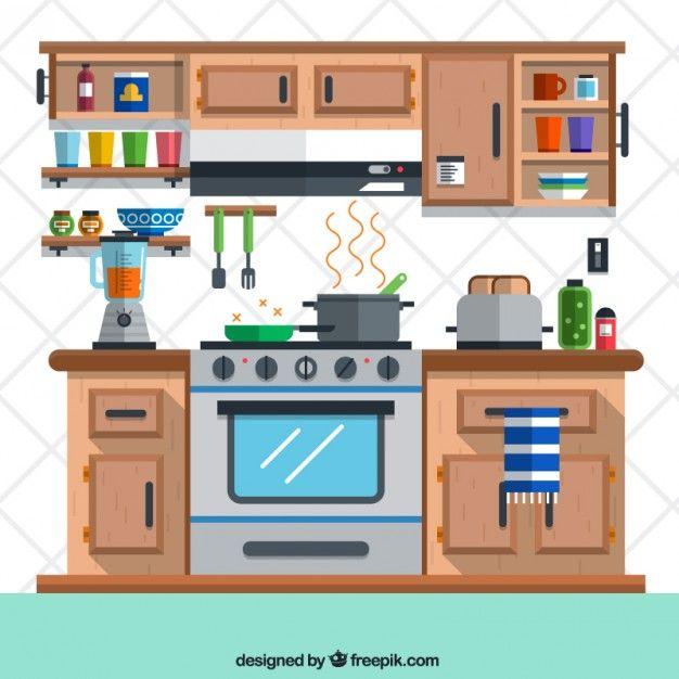 Descarga Gratis Cocina En Estilo Plano Casa De Papelao
