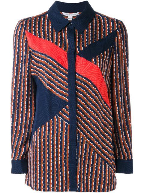 Liara Printed Stretch-Silk Top, Rickrack Khaki | Diane Von ...