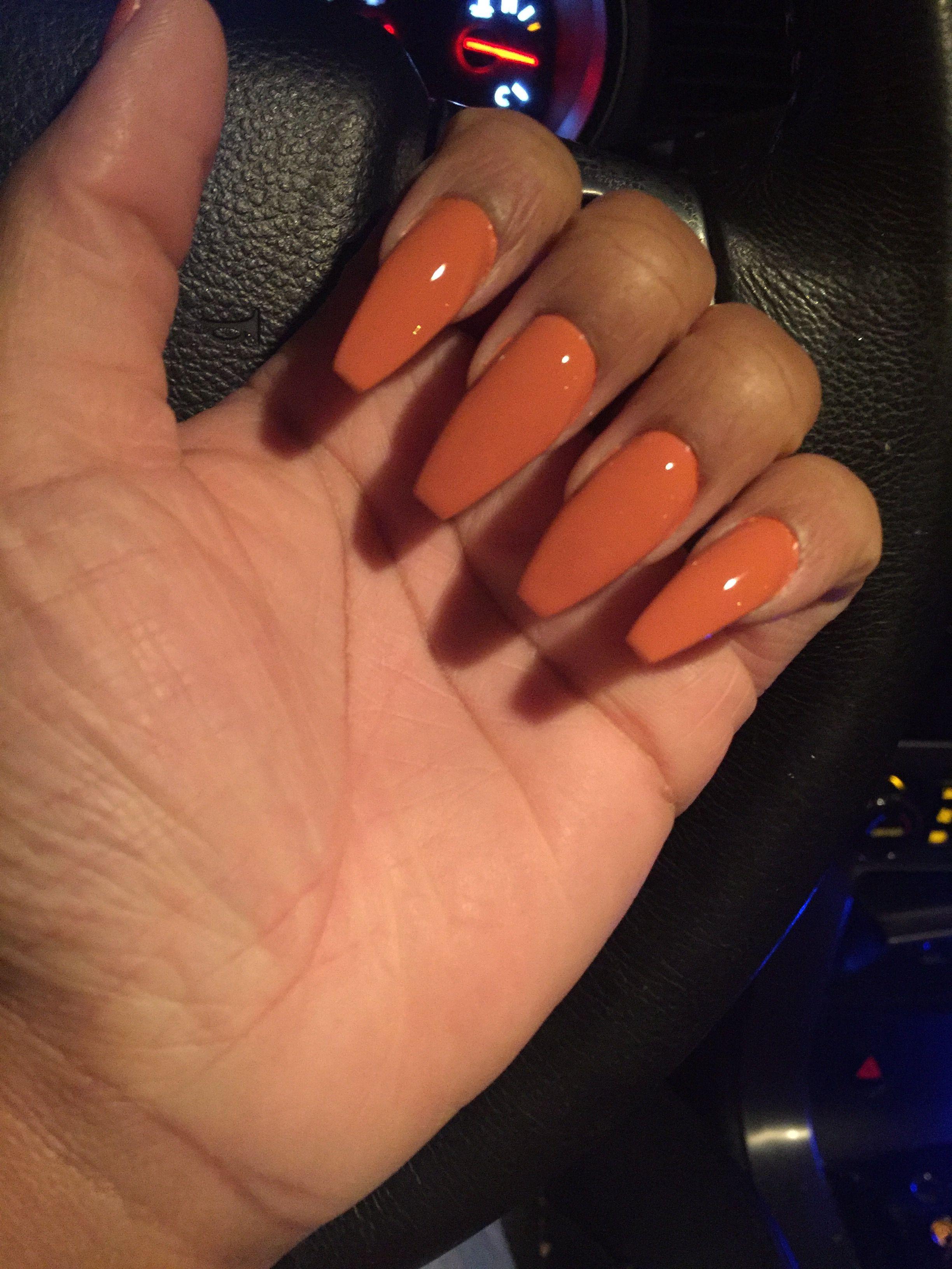 Fall orange coffin shape acrylic nails   Nail   Pinterest ...