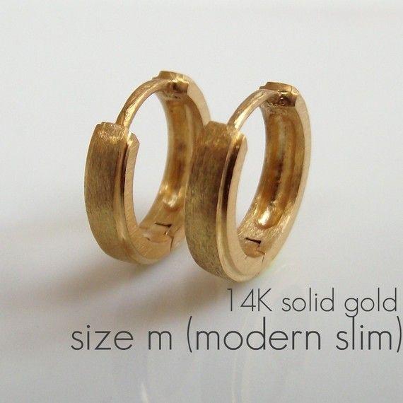 Mens Earrings Gold Hoop 14k Solid Medium By 360jewels 199 00