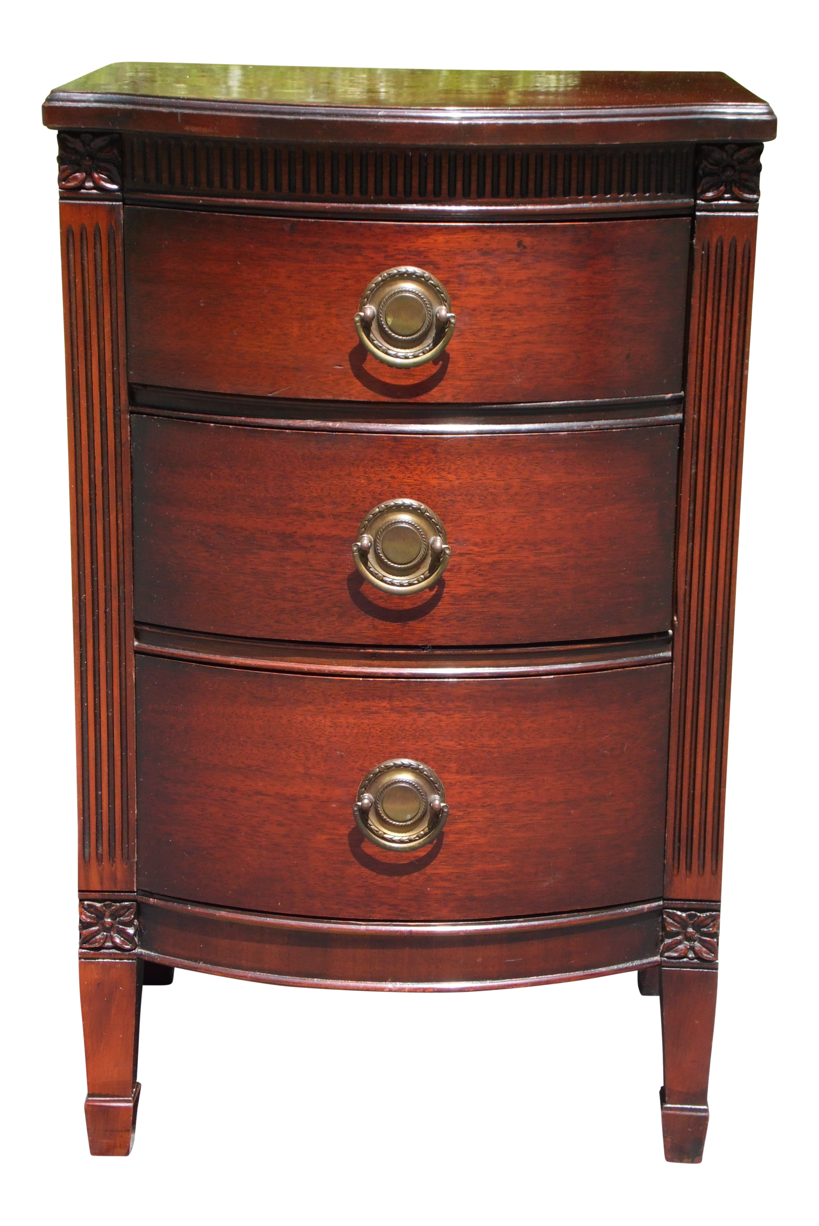 Vintage Federal Style Mahogany Bow Front Nightstand End Table Chest Of Drawers On Chairish Com Chest Of Drawers Drawers End Tables