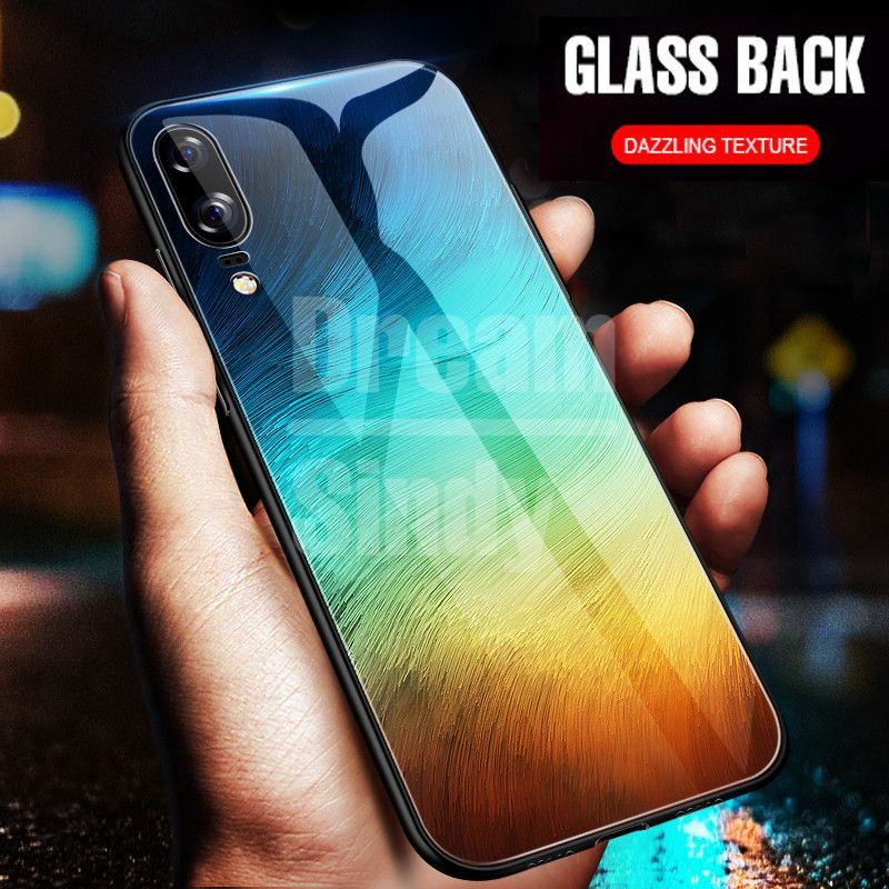 Luxury Tempered Glass Phone Case For Huawei P20 Lite Full Back Cover For Huawei P20 Pro Tpu Soft Edge Silicone Glass Cases Coque Handy