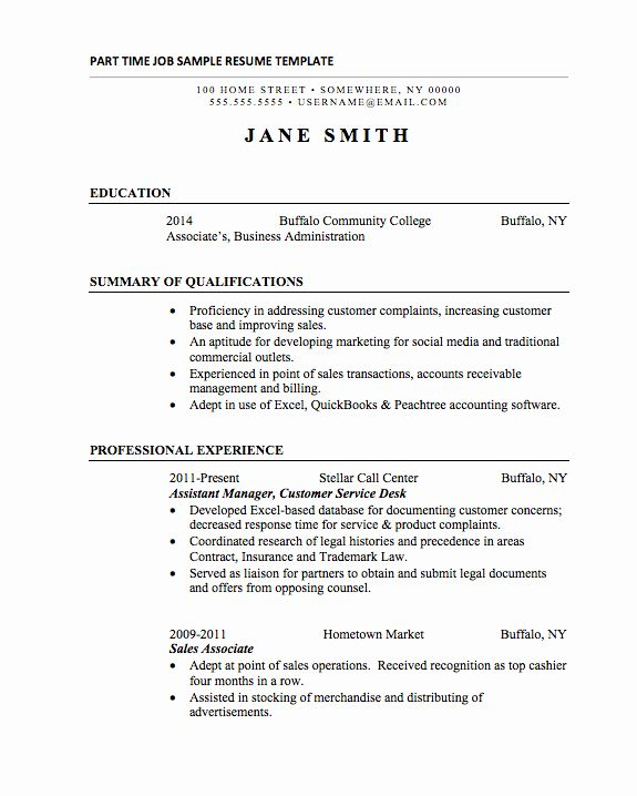 Part Time Job Resume Unique 21 Basic Resumes Examples For Students