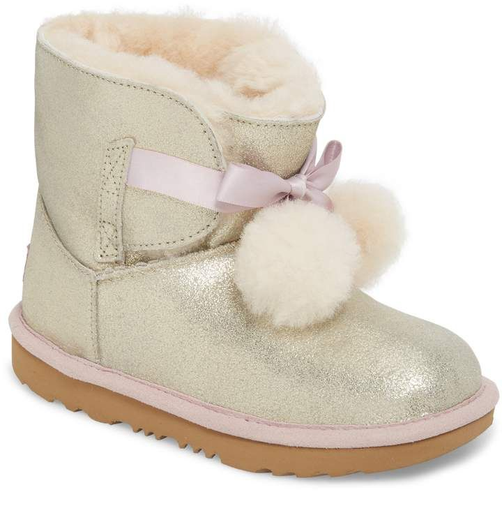 UGG® Gita Metallic Genuine Shearling Pom Boot (Walker