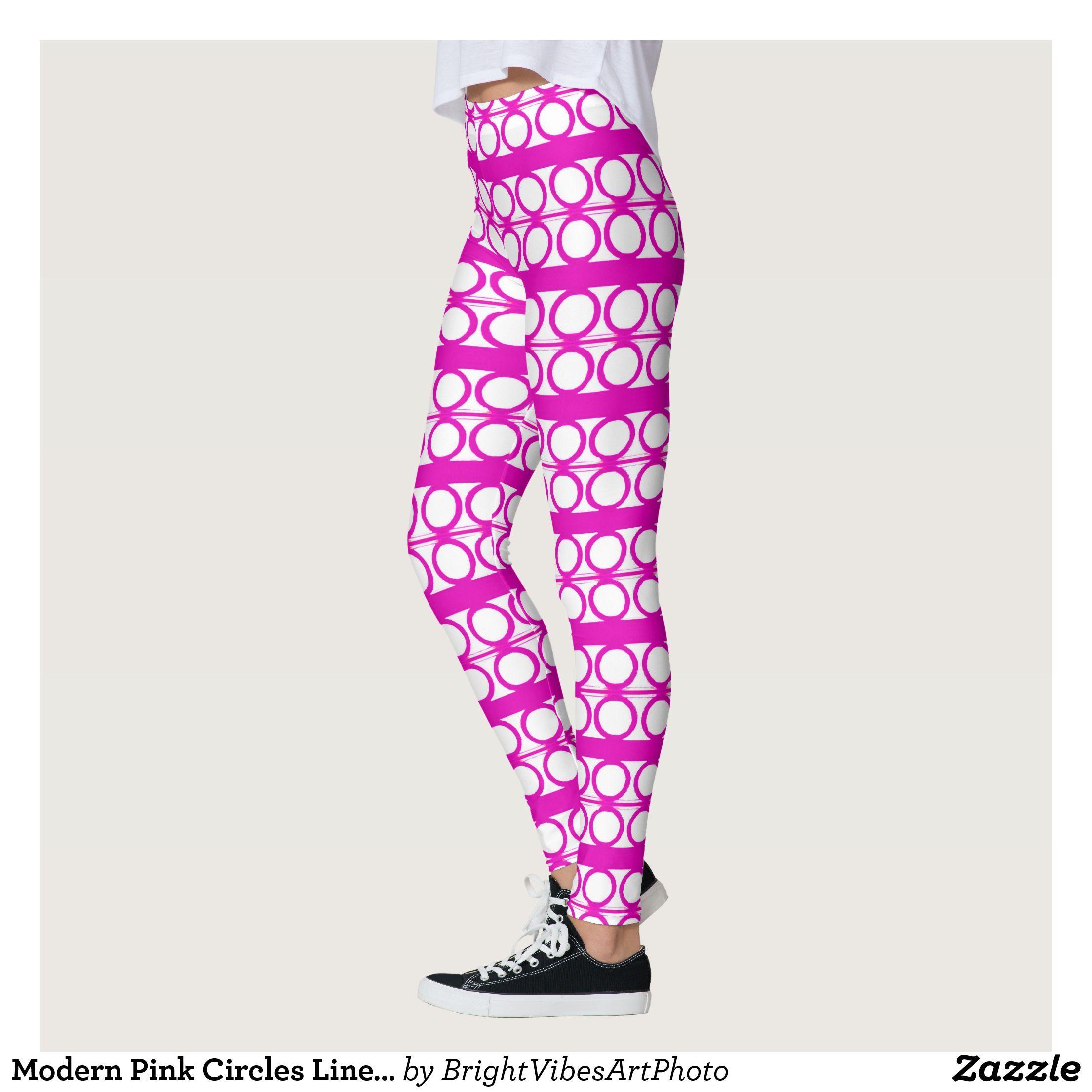 Modern Pink Circles Lines Pattern Leggings   Beautiful  Yoga Pants -   Exercise Leggings and b582f3c46