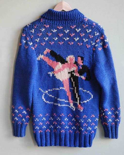 Vintage Cowichan Wool Sweater with Ice Skating Couple (back).
