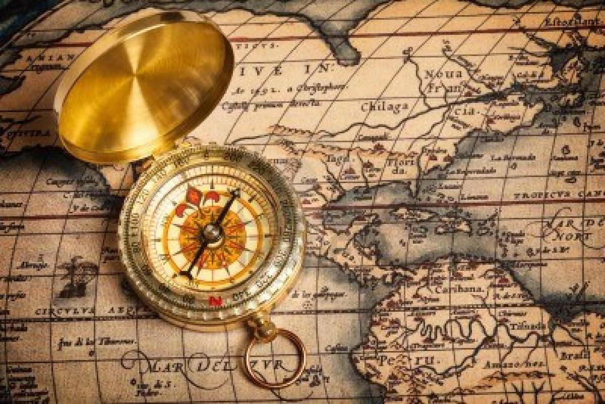 Old Vintage Retro Golden Compass On Ancient Map Vintage Compass Compass And Map Tattoo Map Compass