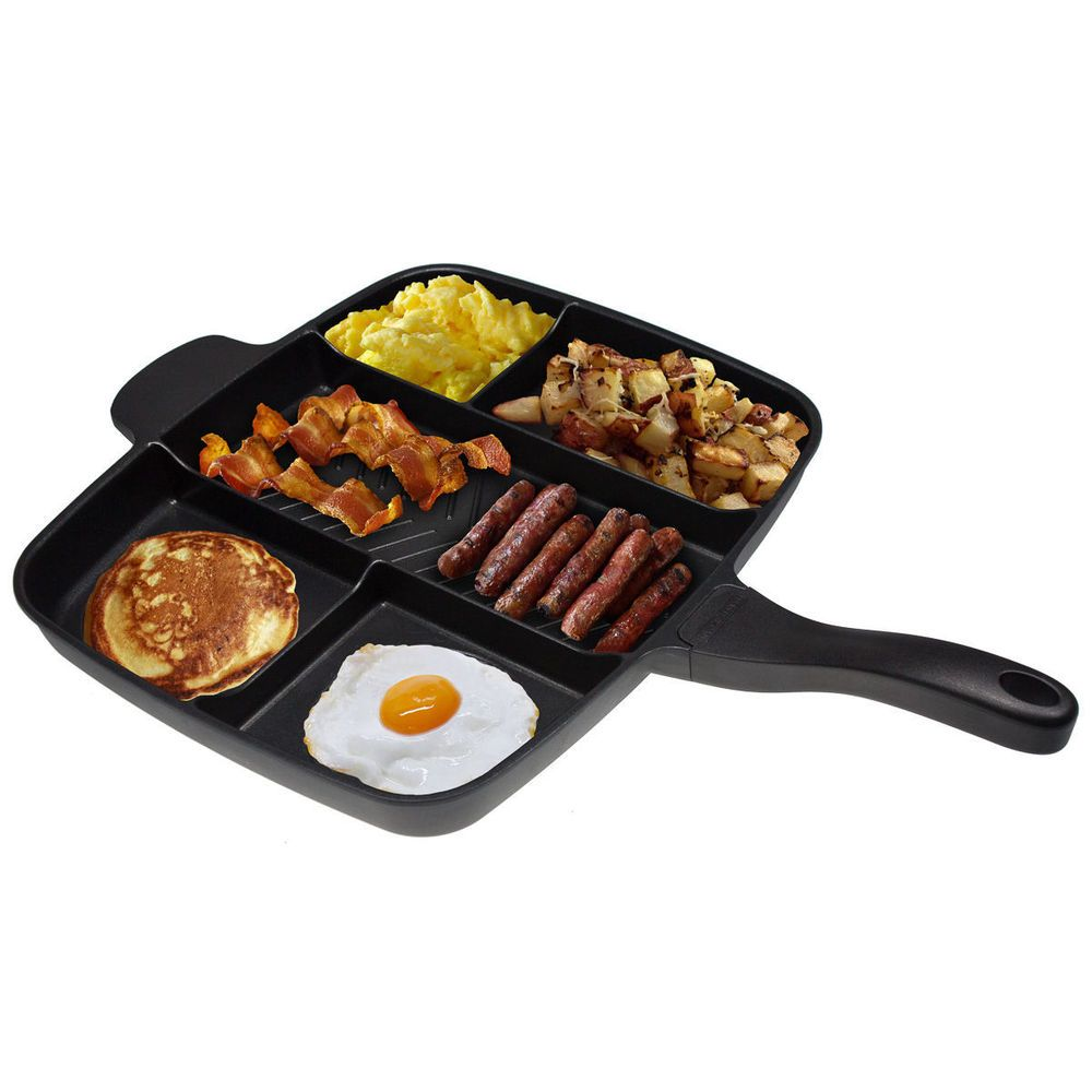 "The Master Pan Non-Stick Divided Meal Skillet 15"" Grill Fry Oven ..."