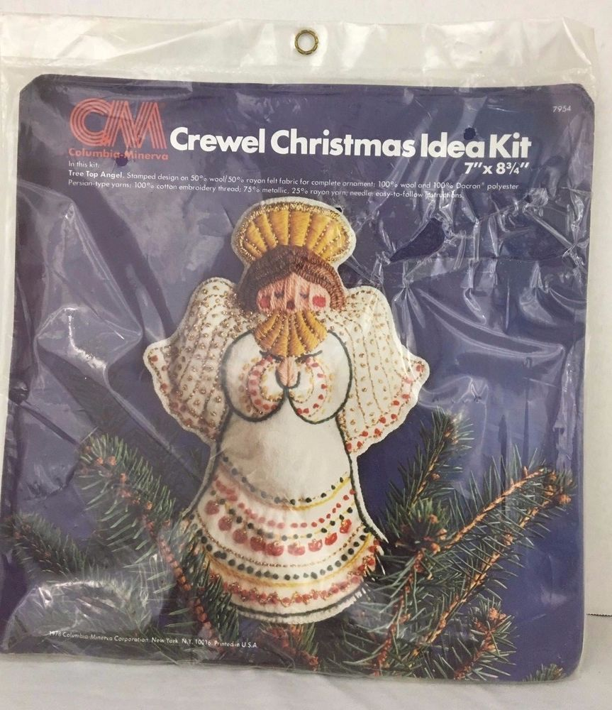 Columbia Christmas Tree: Tree Top Angel Crewel Christmas Idea Kit 7954 Vintage 1978