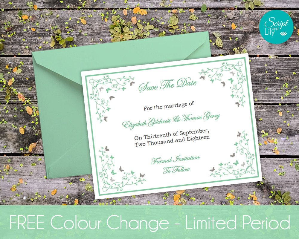 butterfly save the date templates free color change instant