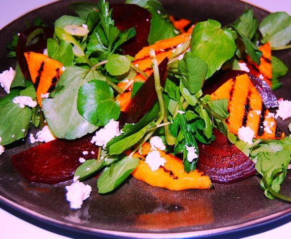 Salade / rode biet - gegrilde flespompoen - feta
