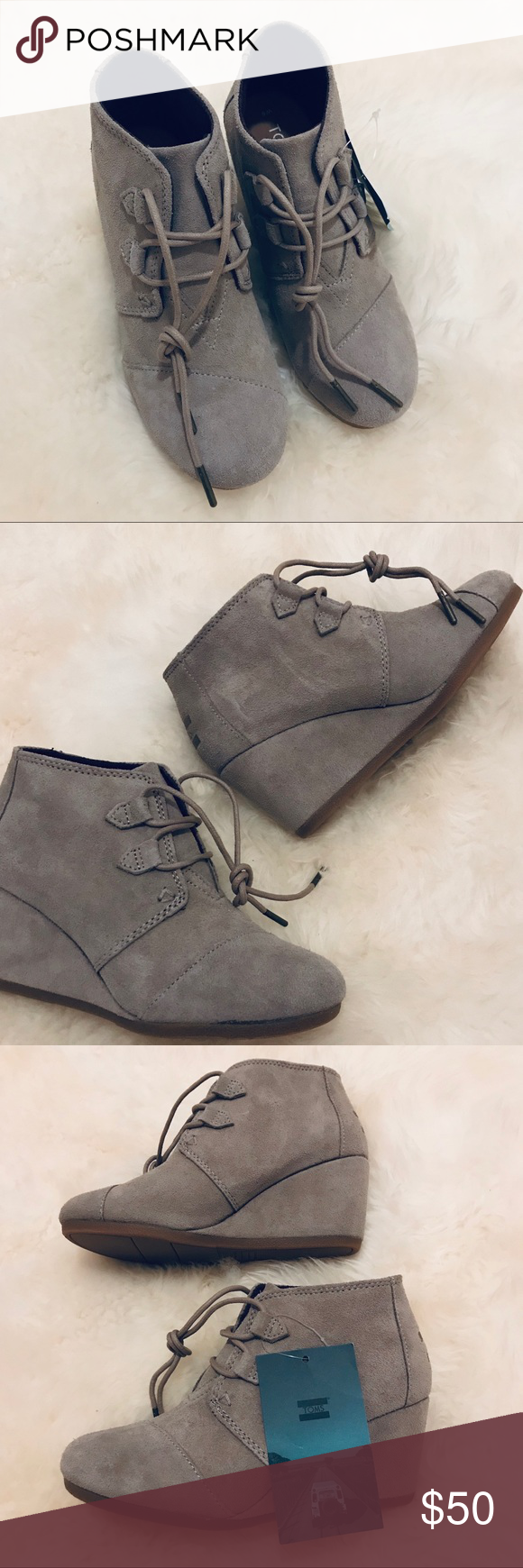 2e425b3f210a NWT Tom s womens kala suede wedge bootie size 6 NWT Tom s women s kala  suede wedge bootie. Looks great with jeans or leggings. Taupe color