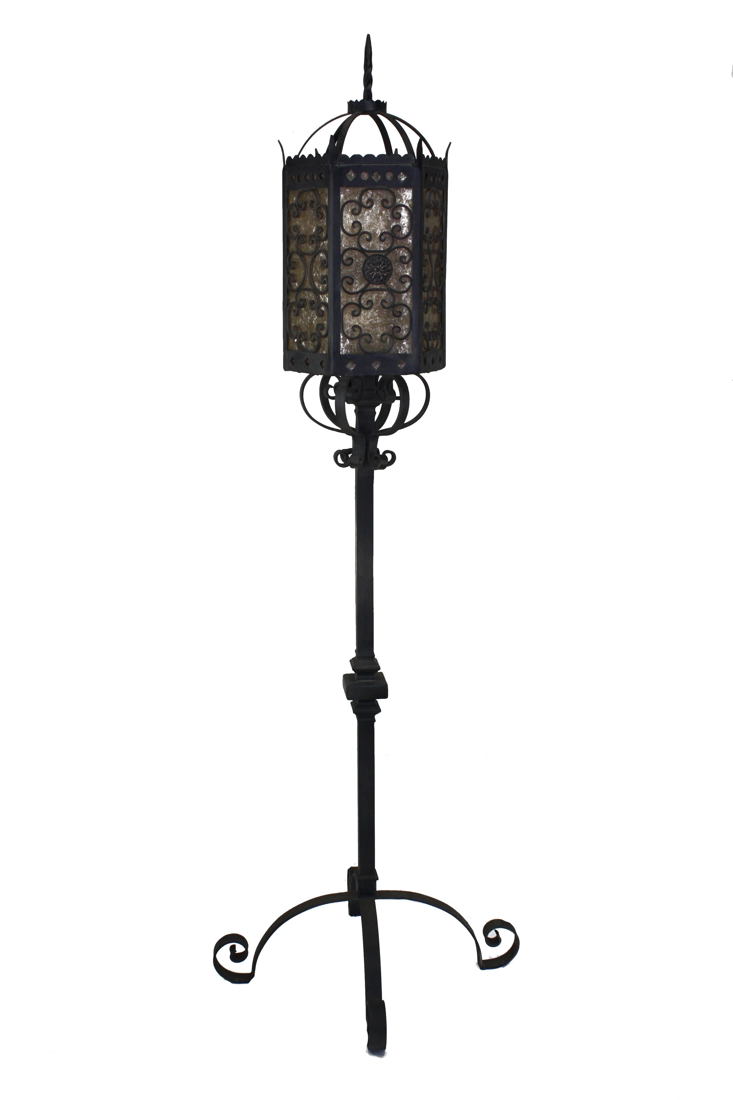Custom hand forged iron and mica floor candelabra with 3 lights by www.haciendalights.com