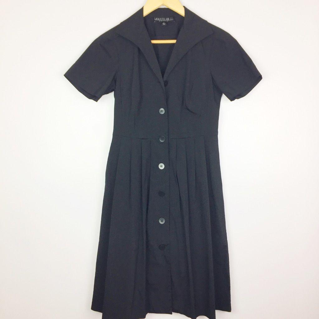 Lafayette 148 Black Short Sleeve Shirt Dress
