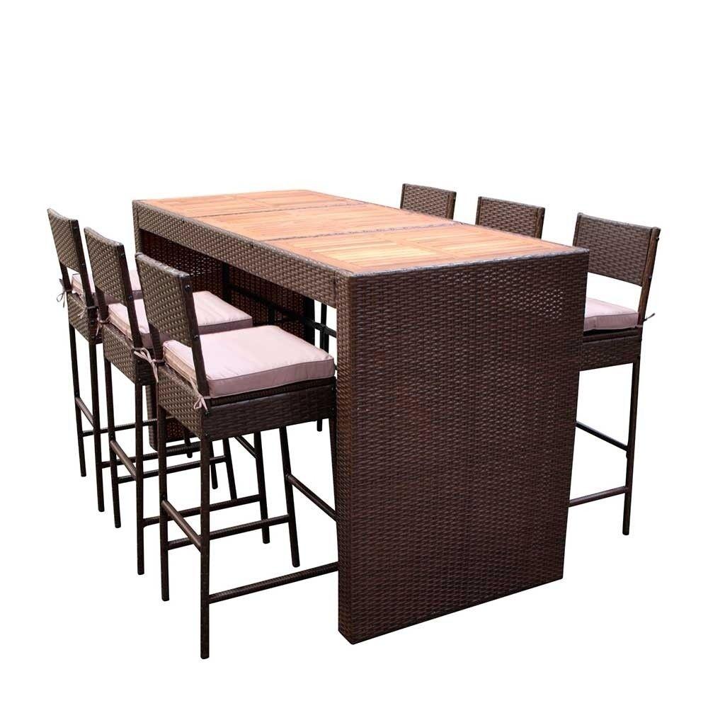 Garten Bartisch Gruppe In Braun Akazie Mit 6 Stuhlen Emzyan 7 Teilig Bartisch Tisch Hochtisch