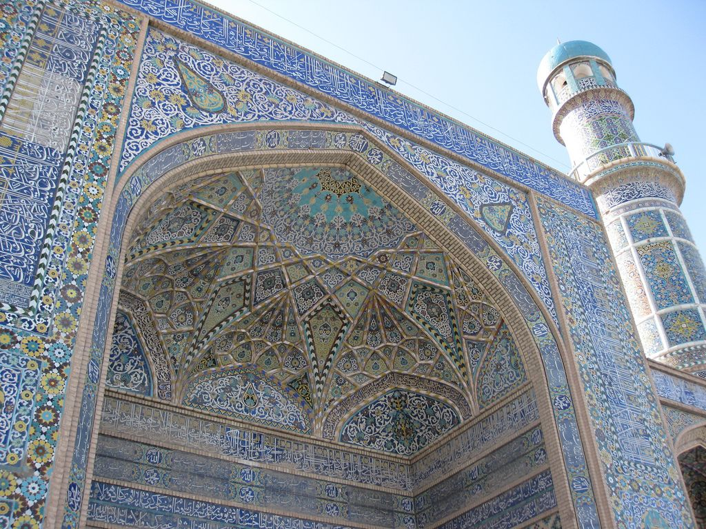 dark blue and turquoise decorative tiles were widely used to