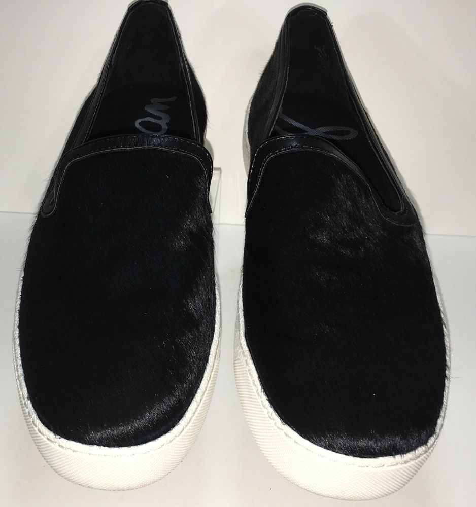 7c7cdacf26b3 Sam Edelman Women Flat Boat Shoe Loafer Size 10 Black Skin Fur Becker Slip  On