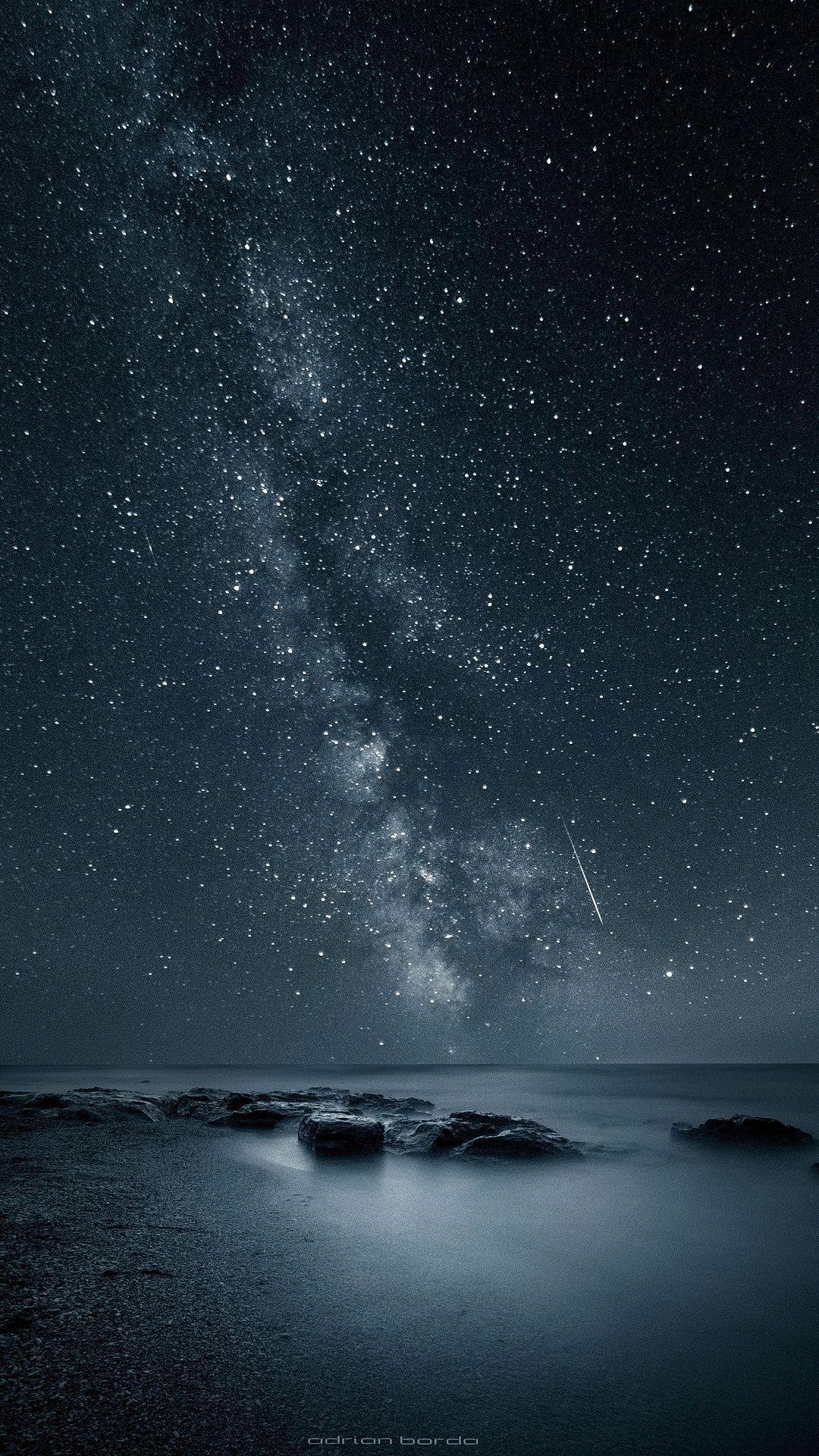 Starry night sea iPhone Wallpaper Infinity wallpaper