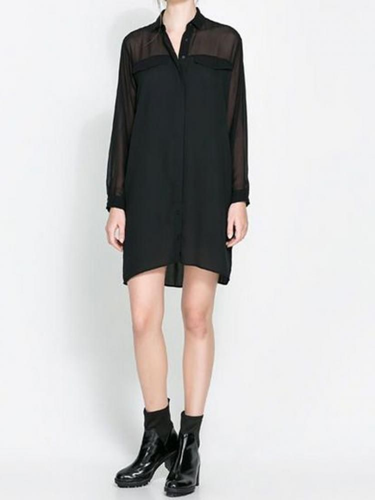 Black Chiffon Dress With Lucid Top
