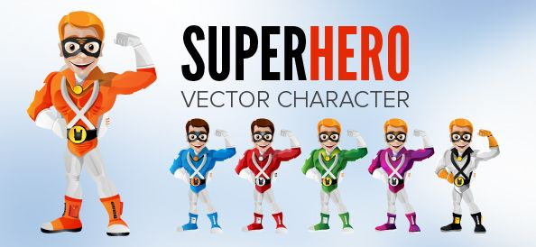 Freebie - Superhero Vector Character Set #cartooncharacter