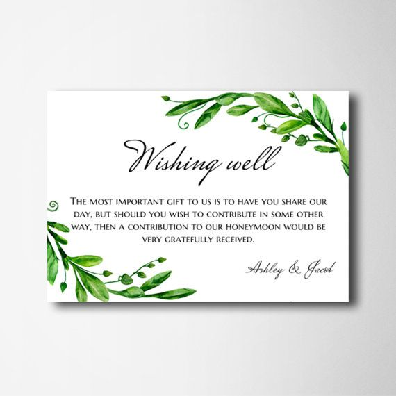 Wedding Gift Card Quotes: Wishing Well Cards Green Wedding Wishing Well Printable