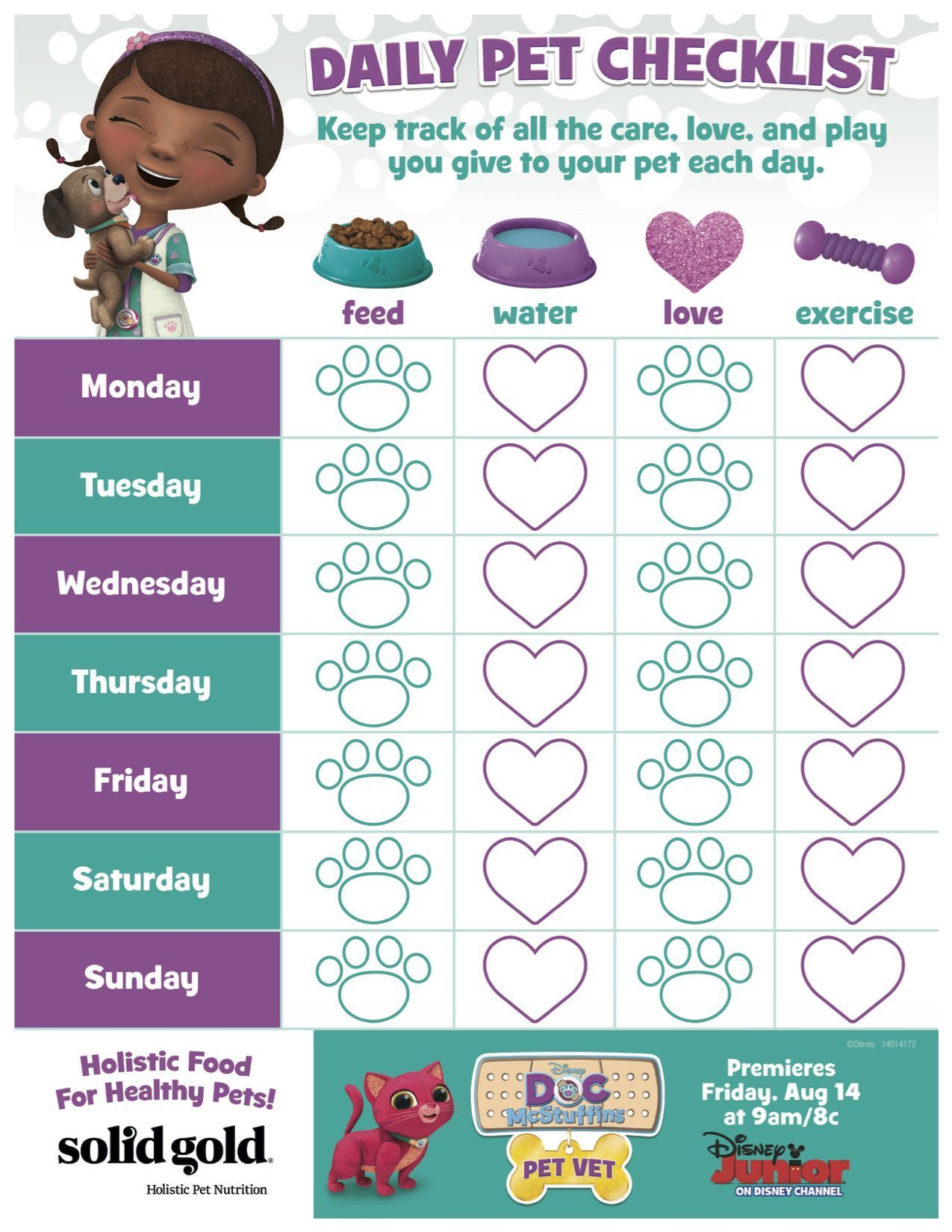 Taking Care Of A Pet Should Be Fun Not A List Of Chores Keep The Kids Motivated With This Daily Pet Checkli Doc Mcstuffins Pet Vet Pet Vet Dog Care Checklist