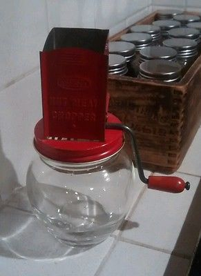 Androck Antique Tin And Glass NUT MEAT CHOPPER