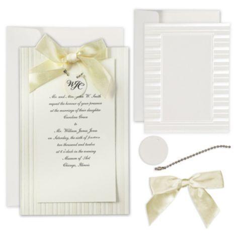 Ivory Simple Yet Elegant Printable Wedding Invitations Kit Party City Wedding Invitation Kits Printable Wedding Invitations Invitation Kits