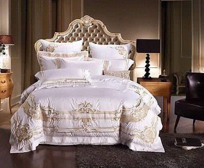 details about white and gold royal luxury 7pcs duvet cover bedding set queen king size. Black Bedroom Furniture Sets. Home Design Ideas